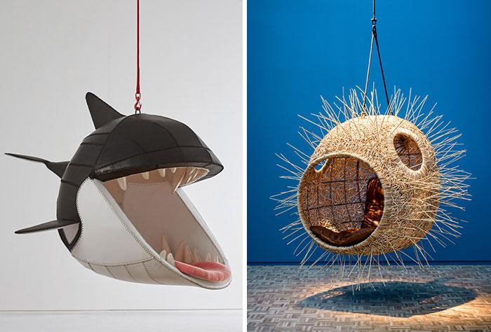 Con estas sillas colgantes animales puedes sentarte en la boca de mortíferos depredadores