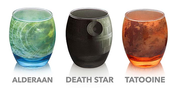 Estos vasos planetarios muestran los planetas más famosos de La Guerra de las Galaxias