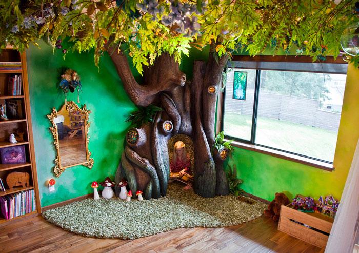 Este padre se pasó 18 meses transformando el cuarto de su hija en una casa del árbol de cuento