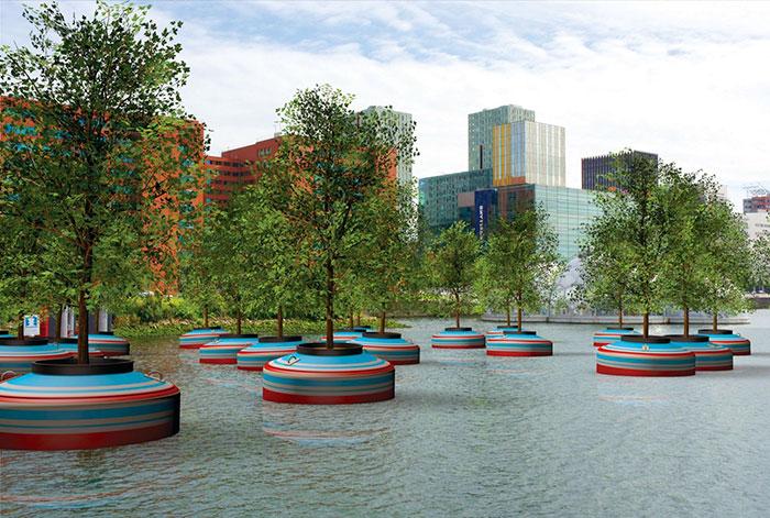 Un bosque flotante será instalado en Rotterdam