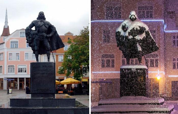 Esta estatua polaca parece Darth Vader tras un día de nieve