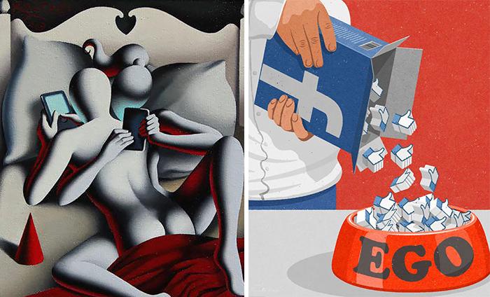 20 Ilustraciones satíricas que muestran nuestra adicción a la tecnología