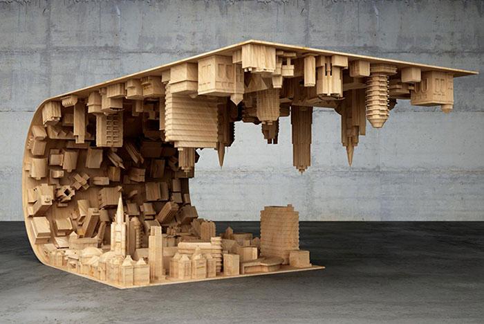 Esta mesa inspirada en Origen curva una ciudad en tu salón