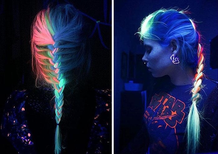 Ahora el pelo arco iris también puede brillar en la oscuridad con luz negra
