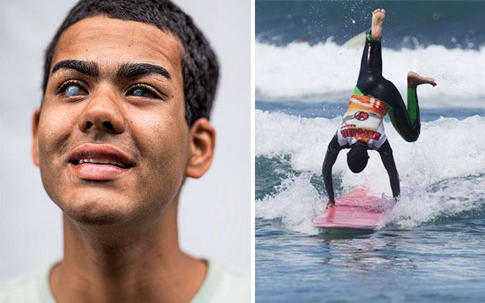 Este invidente se convirtió en surfista profesional mediante una técnica inusual