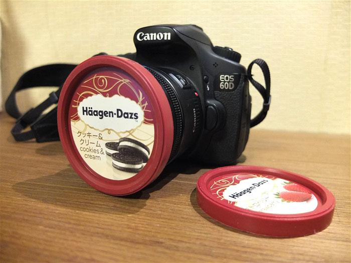 Una tapa de helado Häagen-Dazs sirve también para tapar perfectamente tu objetivo de 72mm