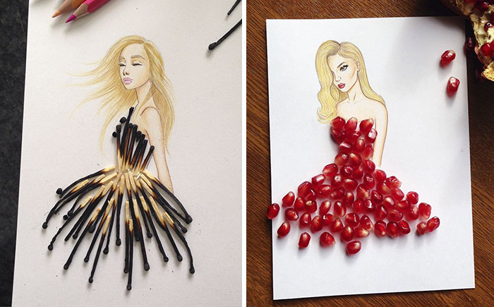 Este ilustrador armenio completa sus vestidos recortables con objetos cotidianos