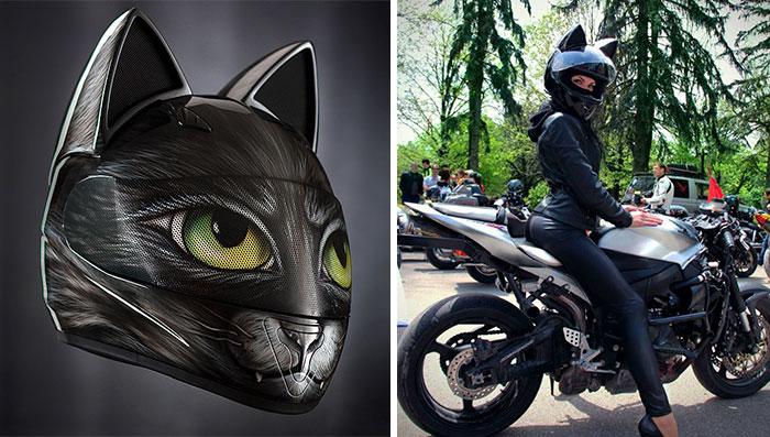 Cascos de gato con orejas creados en Rusia
