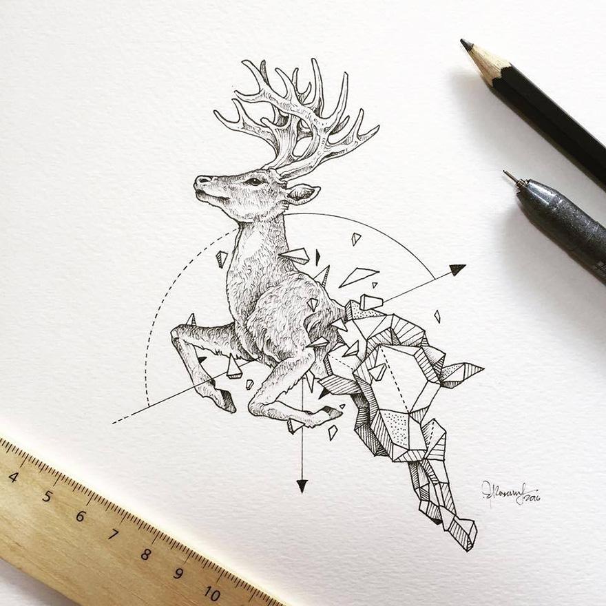 Intrincados Dibujos De Animales Salvajes Fusionados Con Formas
