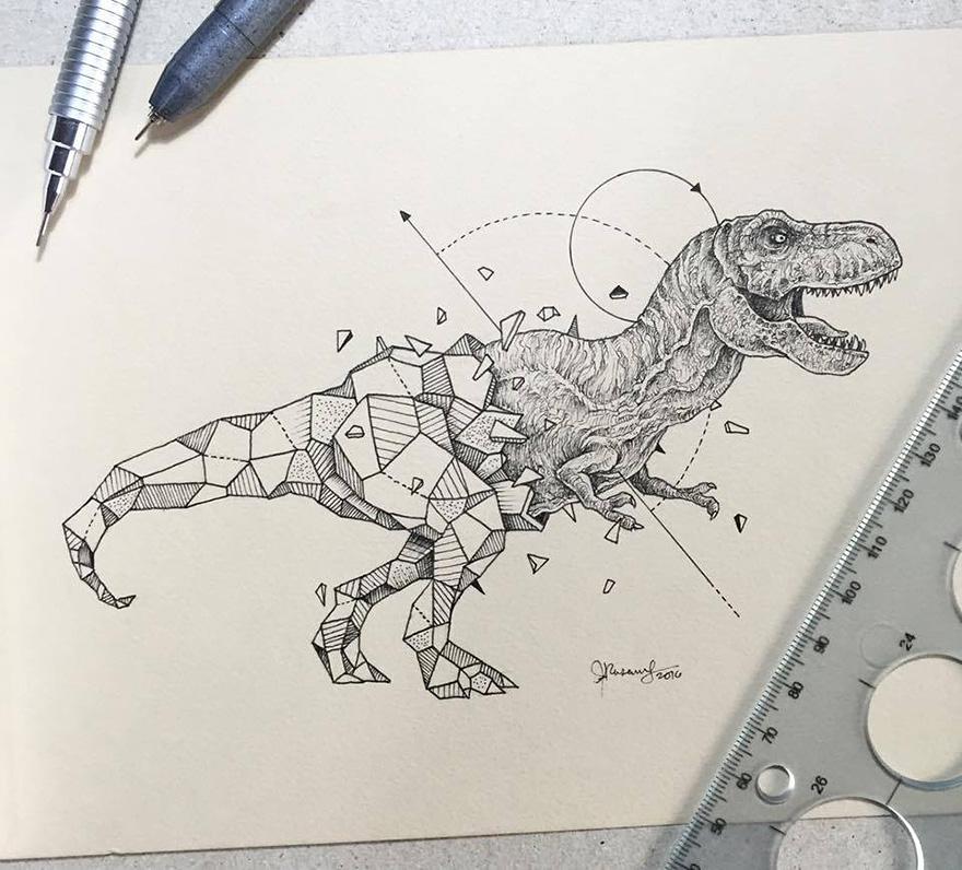 Drawing Lines In R : Intrincados dibujos de animales salvajes fusionados con