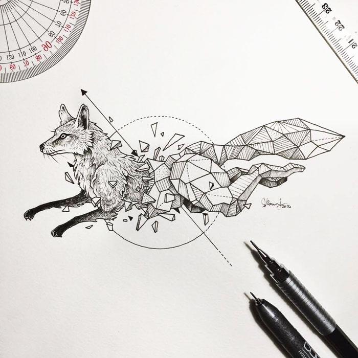Intrincados dibujos de animales salvajes fusionados con formas ...