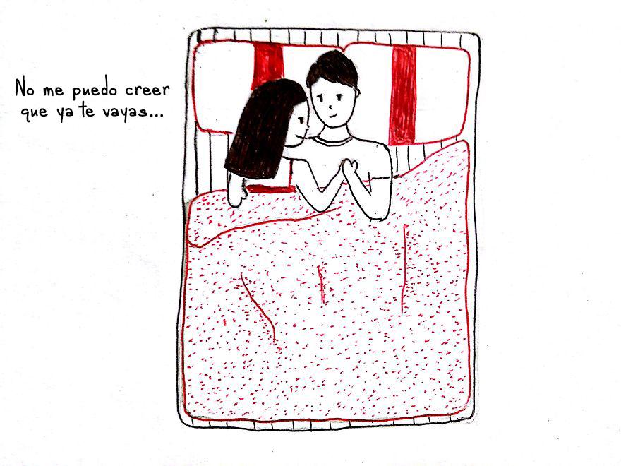 Dibujo cómo es estar en una relación a larga distancia