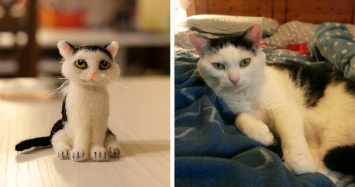 Esta artista hace una linda copia de tu mascota usando fieltro modelado con aguja