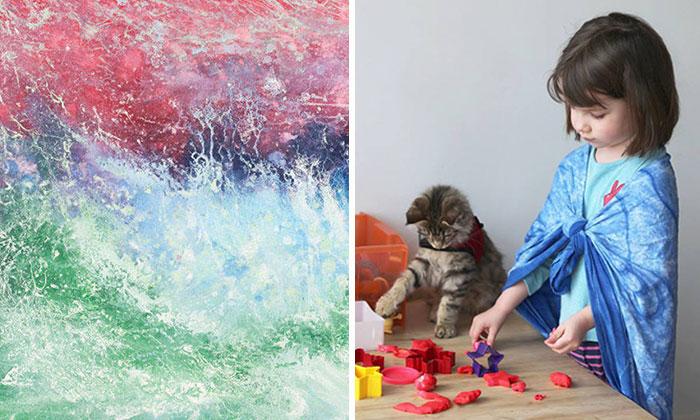 Mi hija autista de 6 años crea increíbles pinturas y hasta Angelina Jolie ha comprado sus obras