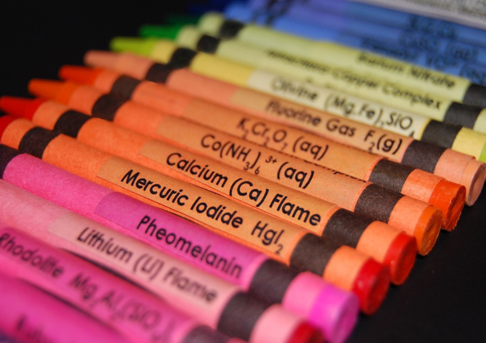 Estas pegatinas de los elementos químicos para los crayones ayudan a los niños a aprender la tabla periódica mientras pintan