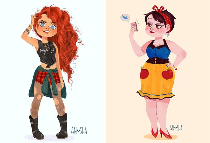 Ilustro A Las Princesas Disney Como Chicas Modernas Del Siglo Xxi