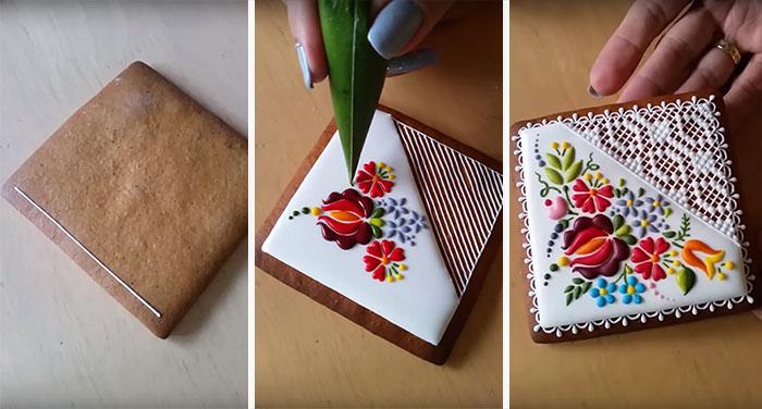 Esta chef húngara transforma simples galletas en arte inspirado en bordados
