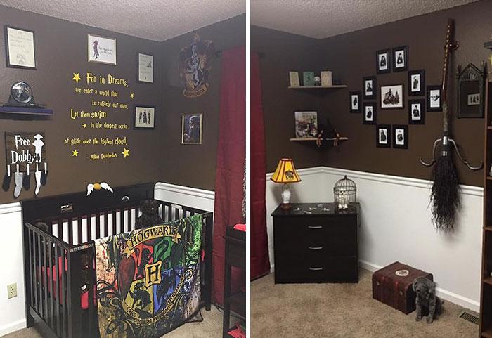 Estos padres crearon una habitación de Harry Potter para su pequeño mago recién nacido