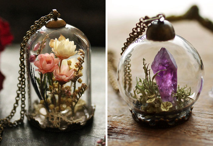 Las joyas en terrarios de Ruby Robin te permiten llevar trocitos de naturaleza contigo