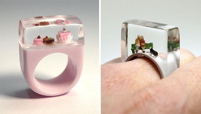 Escenas en miniatura dentro de anillos, por Isabell Kiefhaber