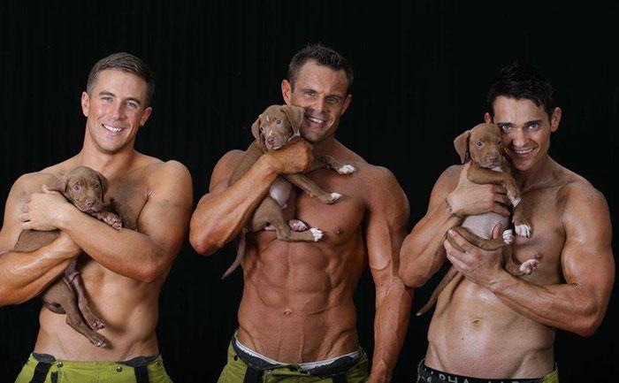 Estos bomberos posando con cachorritos rescatados con fines benéficos te encenderán