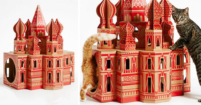 7 Casas de cartón para gatos inspiradas en famosos monumentos arquitectónicos