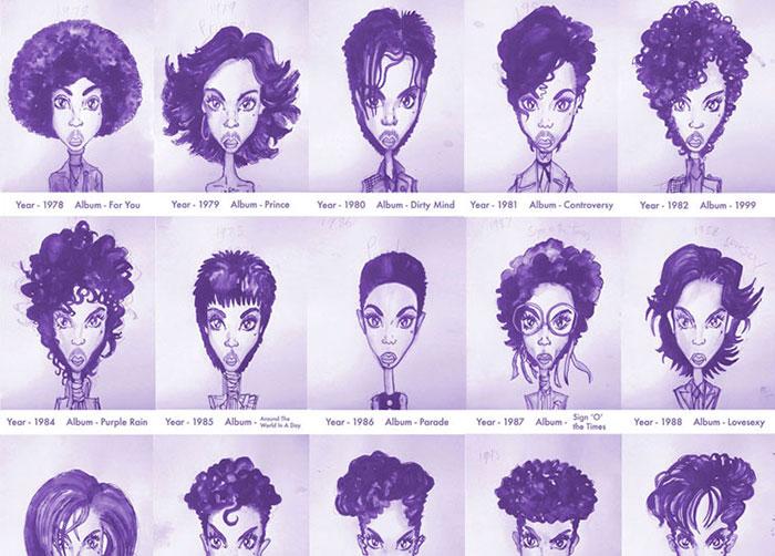 Los peinados de Prince desde 1978 hasta 2013