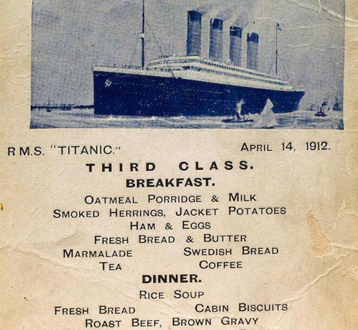 Los menús con la comida del Titanic para los pasajeros de 1ª, 2ª y 3ª clase