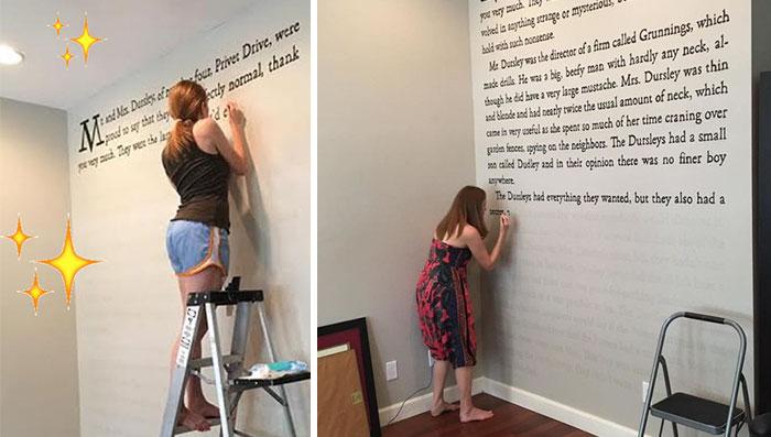 """Esta fan de Harry Potter pintó la 1ª página de """"La piedra filosofal"""" en su pared"""