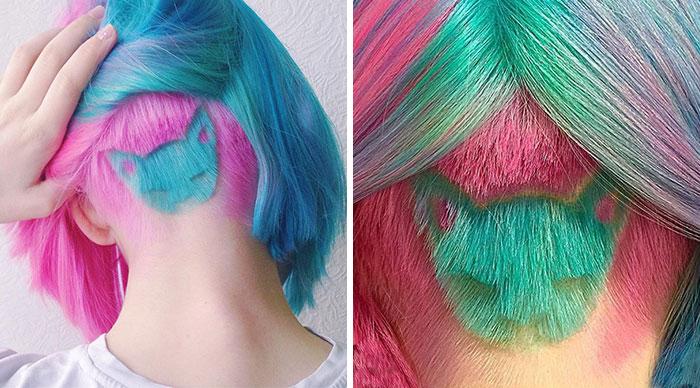 Este corte de pelo arco iris con forma de gato es el peinado de moda en Instagram