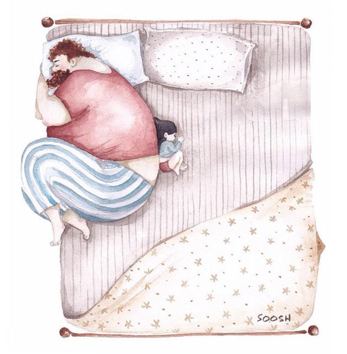 Emotivas ilustraciones sobre el amor entre padres y sus hijas pequeñas