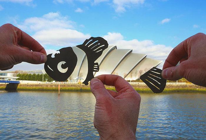 Este artista transforma famosas referencias geográficas en escenas de Disney usando papel