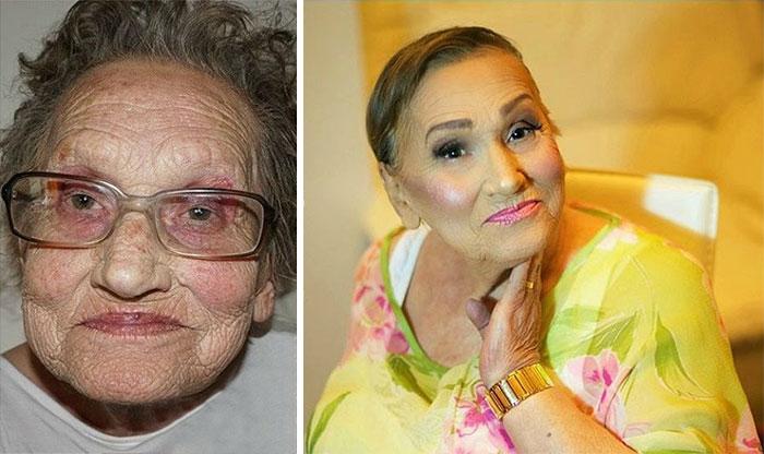 Esta abuela de 80 años pidió a su nieta que la maquillara y se convirtió en la sensación de internet