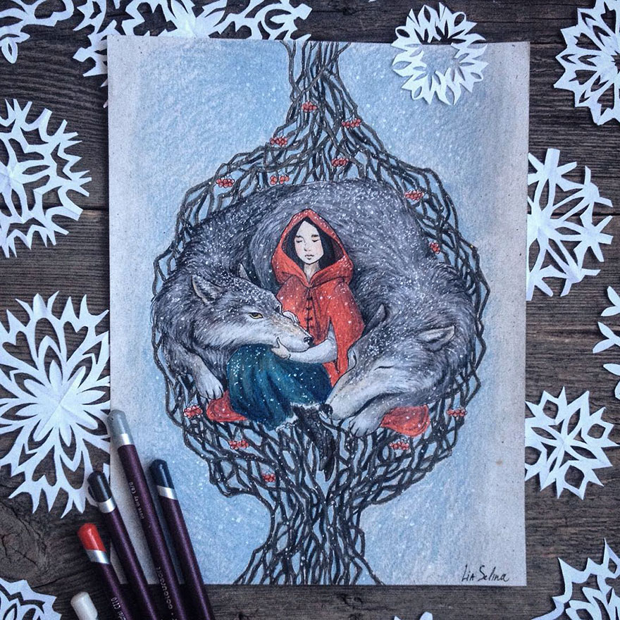 Dibujos Pintados Con Lápices De Colores Inspirados En Cuentos De