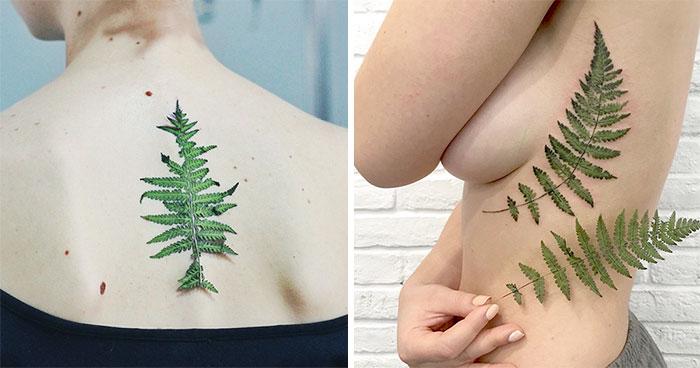 Esta Tatuadora Usa Hojas Y Flores Reales Como Plantillas Para Crear