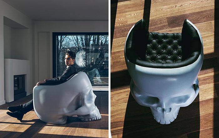 Este sillón en forma de cráneo satisfará a tu villano interior