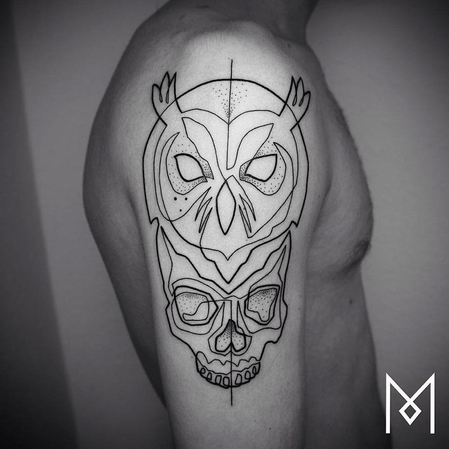 Tatuajes Minimalistas Hechos Con Una Sola Línea Continua Por Un