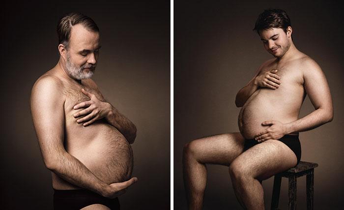 Este anuncio alemán de cerveza muestra a hombres acunando sus barrigas cerveceras como si fueran madres embarazadas