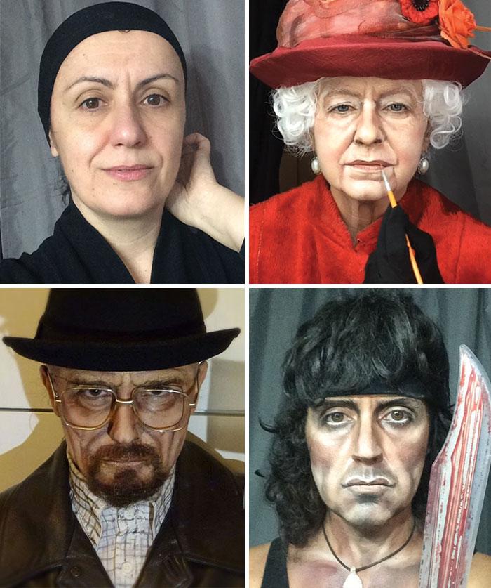 Me transformo en personajes famosos con el maquillaje