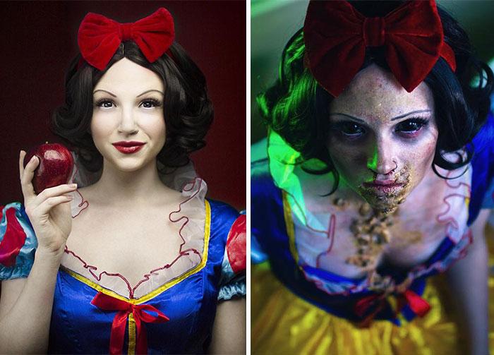 Glam & Gore: Artista autodidacta muestra el destino de las princesas Disney y otros iconos pop