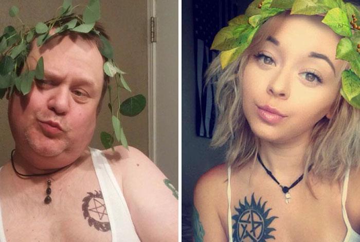 Este padre trolea a su hija recreando sus selfies