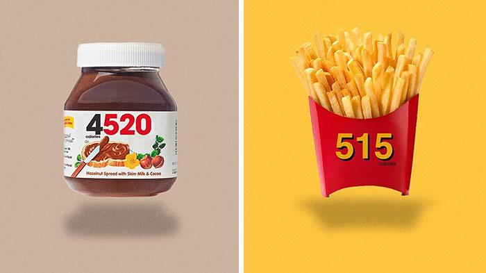 Logos de alimentos rediseñados para mostrar su contenido en calorías