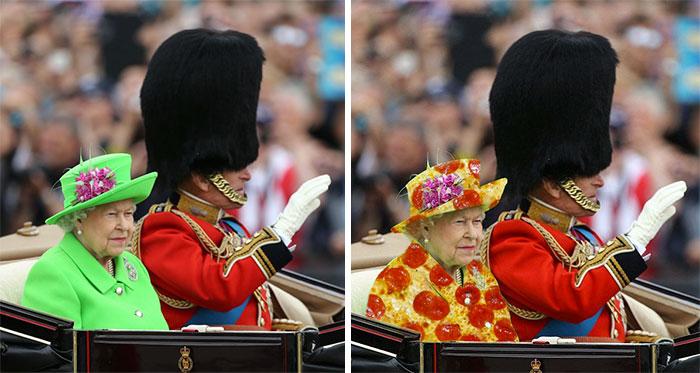 """El traje """"pantalla verde"""" de la Reina desencadena una divertida reacción en internet"""