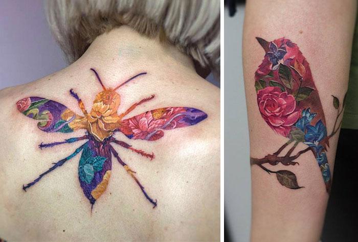 Tatuajes de doble exposición por el artista polaco Andrey Lukovnikov