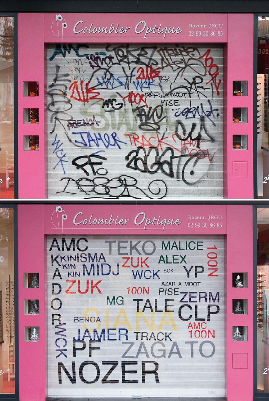 Los graffitis reescritos por Mathieu Tremblin 2