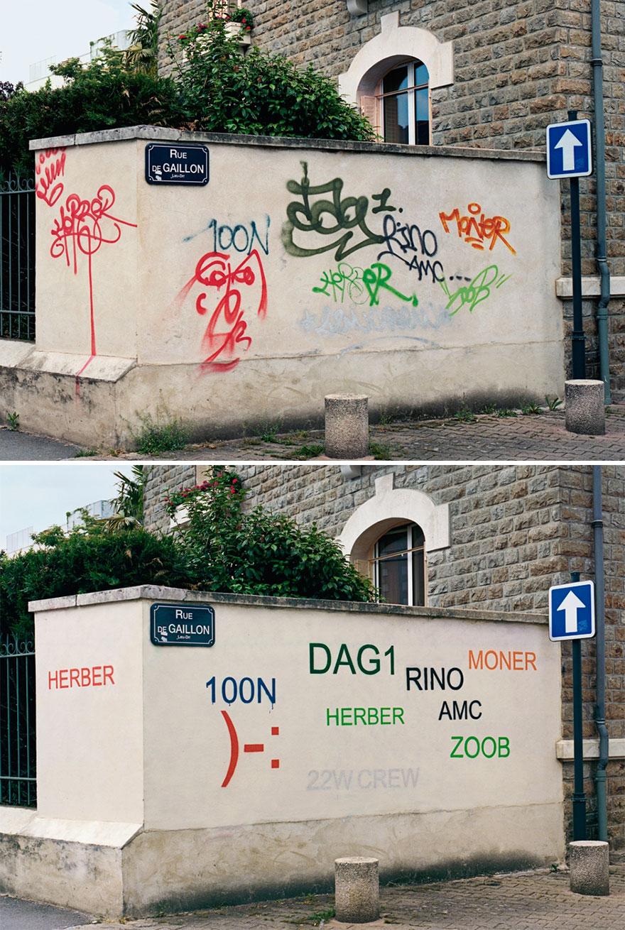 Los graffitis reescritos por Mathieu Tremblin 1