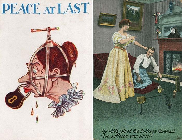 """Estas postales propagandísticas de principios del siglo XX muestran lo """"peligrosos"""" que eran los derechos de las mujeres"""