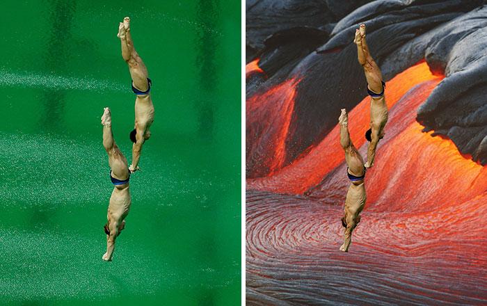 La pista de tenis olímpica es en realidad una pantalla verde gigante, así que internet ha reaccionado
