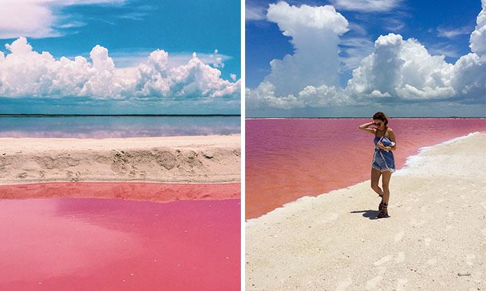 Esta laguna rosa natural en México parece demasiado hermosa para ser real