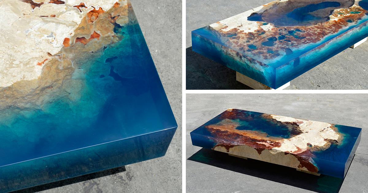 Mesas oce nicas creadas mezclando resina y rocas naturales bored panda - Mesas de exterior de resina ...